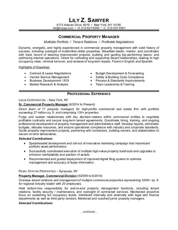Property Manager Resume Sample Monster Com