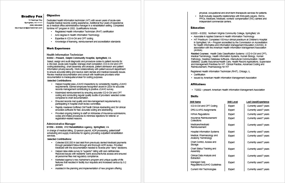 Health Information Technician Sample Resume Monster Com