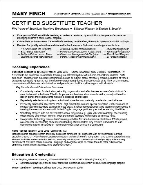 Substitute Teacher Resume Sample Monster Com