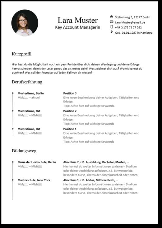 Lebenslauf Vorlage Zum Downloaden Job Coach 2