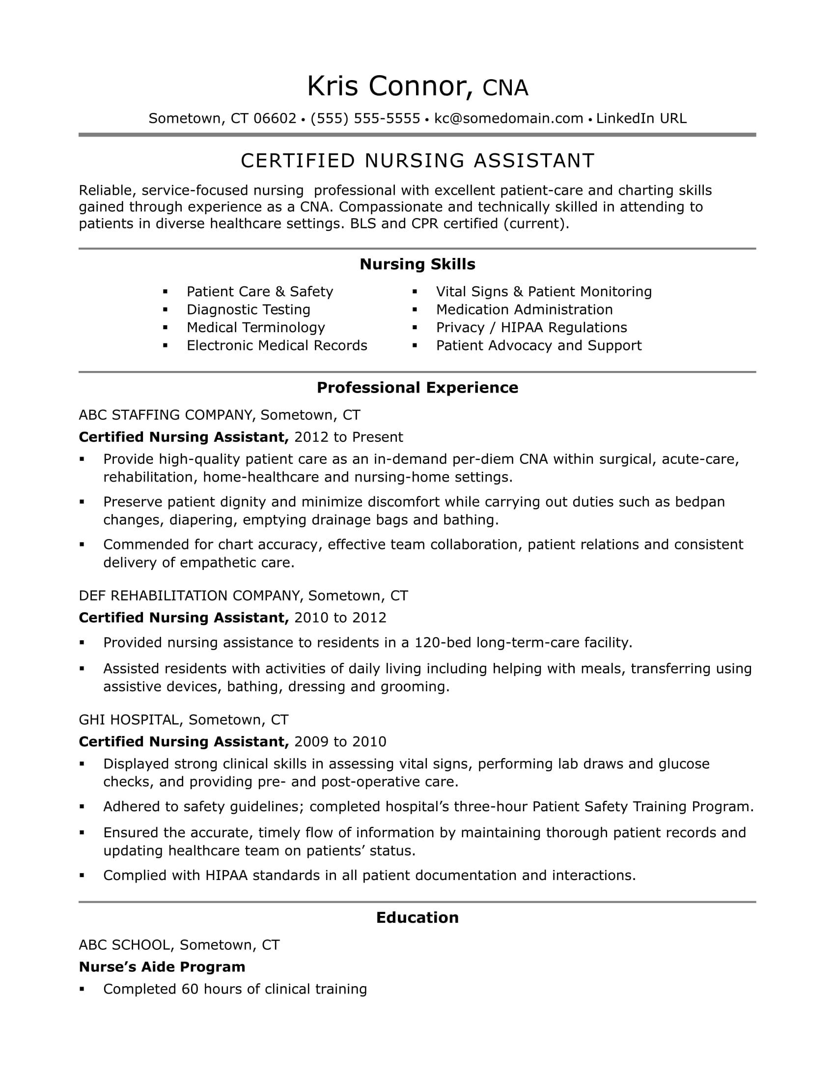 Cna Resume Examples Skills For Cnas Monster Com