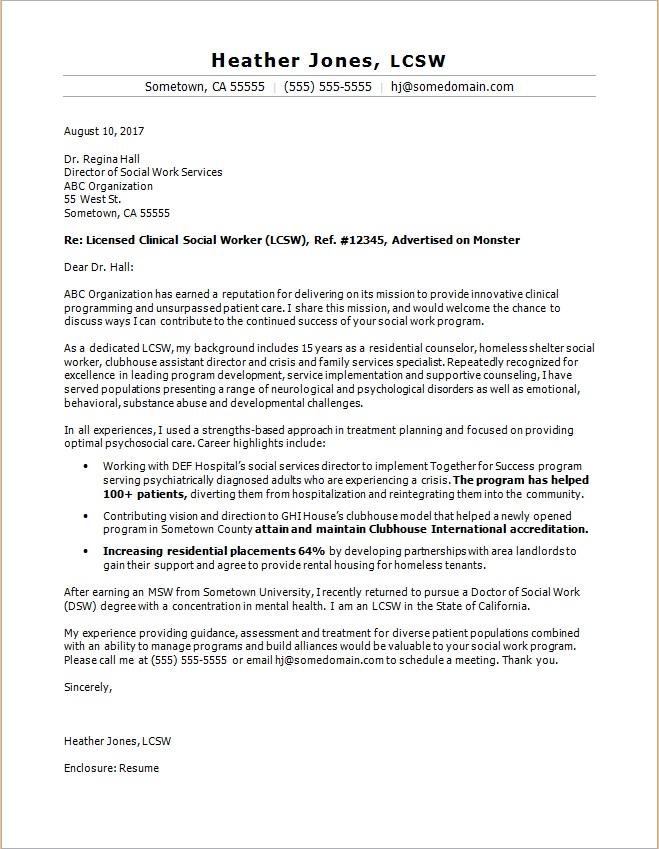 Social Work Cover Letter Sample Monster Com