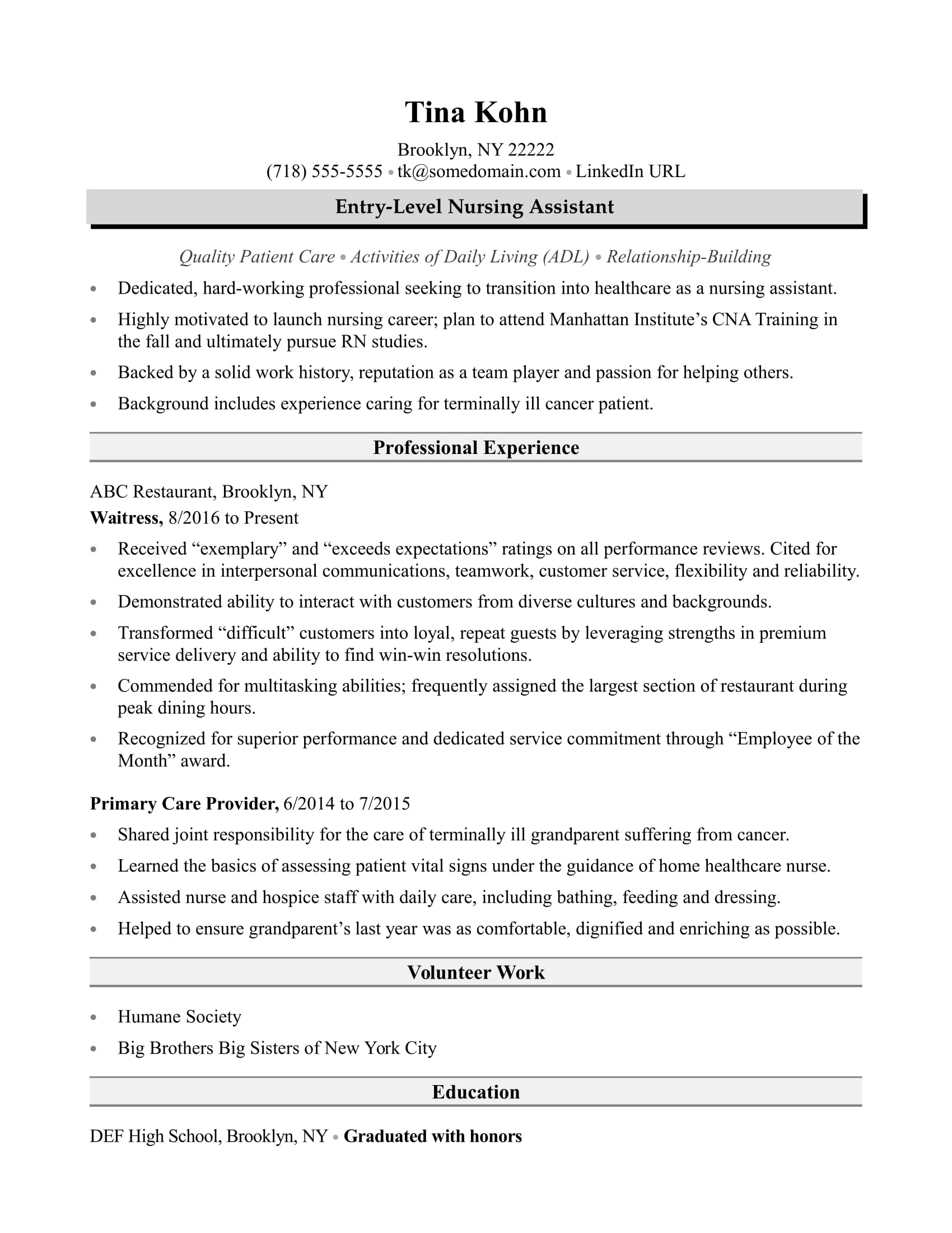 Nursing assistant resume sample for Cna cover letter with little experience