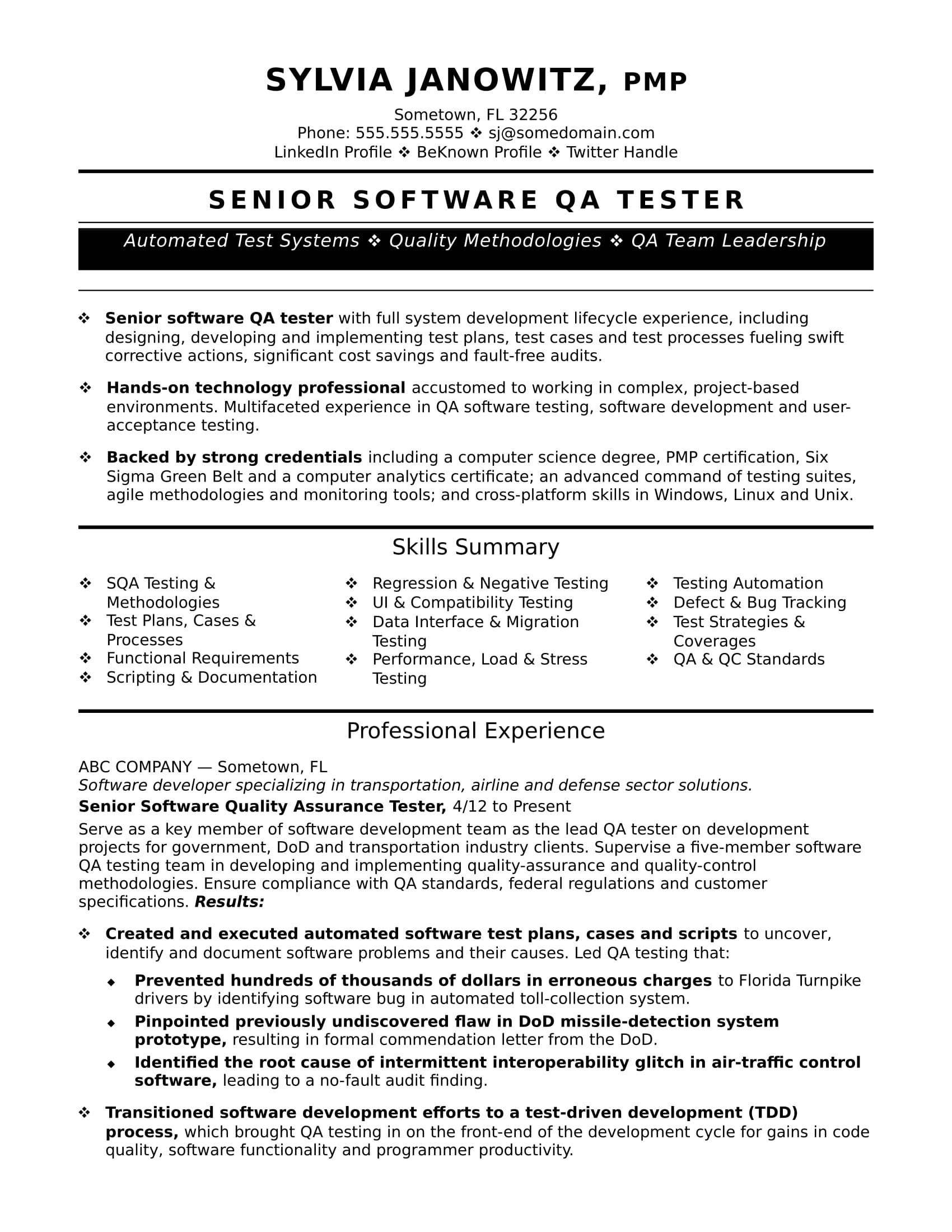 Experienced Qa Software Tester Resume Sample Monster Com